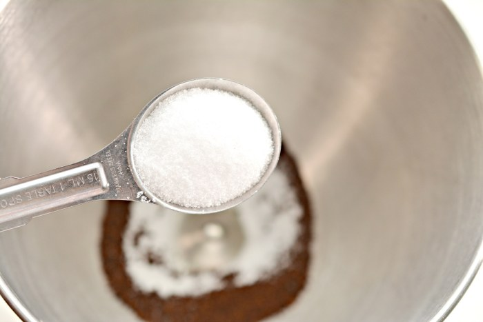tablespoon of sweetener over a mixing bowl