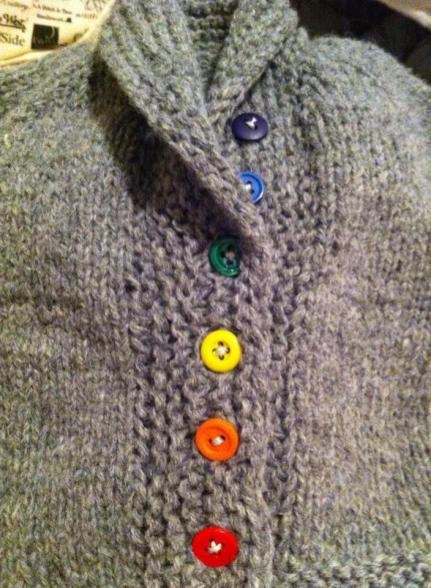 A darling baby sweater with a vintage rainbow button set from Buttonhole! Buttons