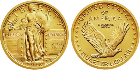 the Standing Liberty Quarter centennial gold coins