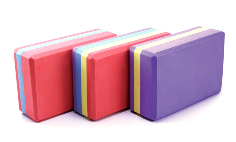 multi-colored yoga bricks