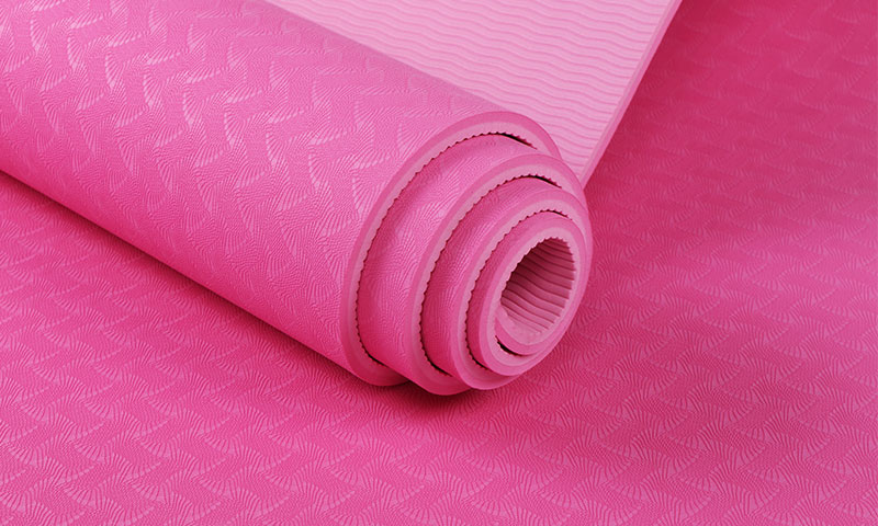pink double layer yoga mat details