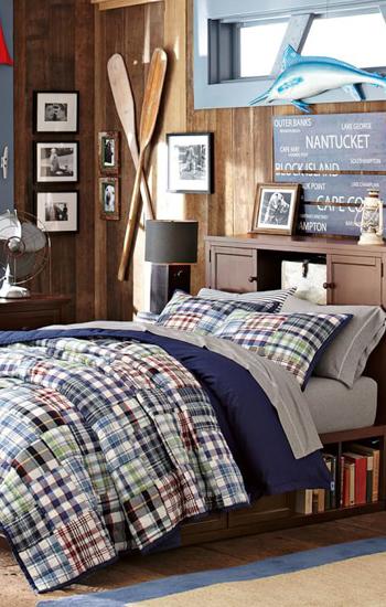 Mariner Madras Plaid Quilt Boys Bedding