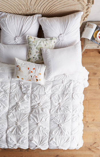 Anthropologie Rosette Quilt in White