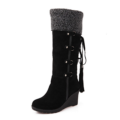 Women's Shoes Polyurethane Fall Winter Comfort Novelty Fashion Boots Wedge Heel Round Toe Mid-Calf BLACK