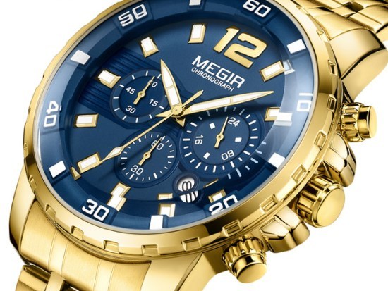 megir watches megir sport quartz men watch gold