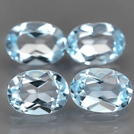 3 71 Ct Natural Light Blue Topaz Gemstone Lot Oval Faceted Cut For Sale