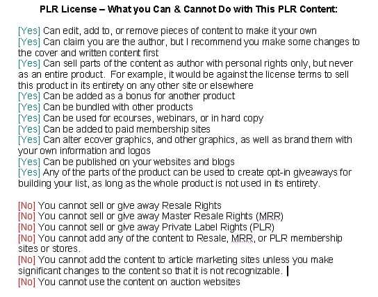 PLR Rules