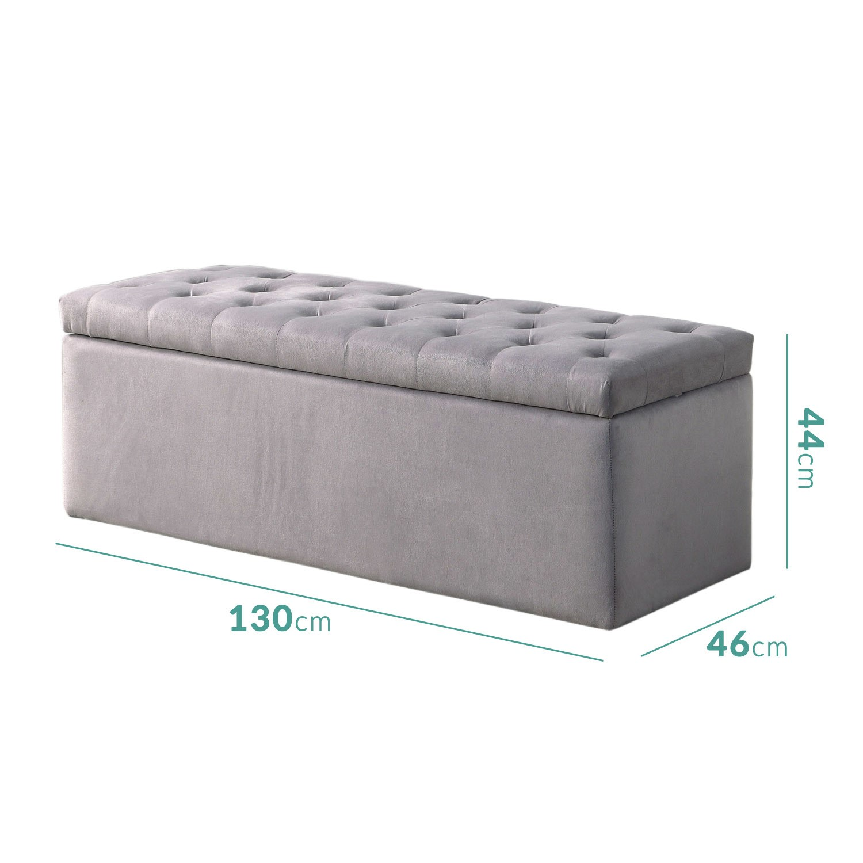safina ottoman storage box in grey velvet