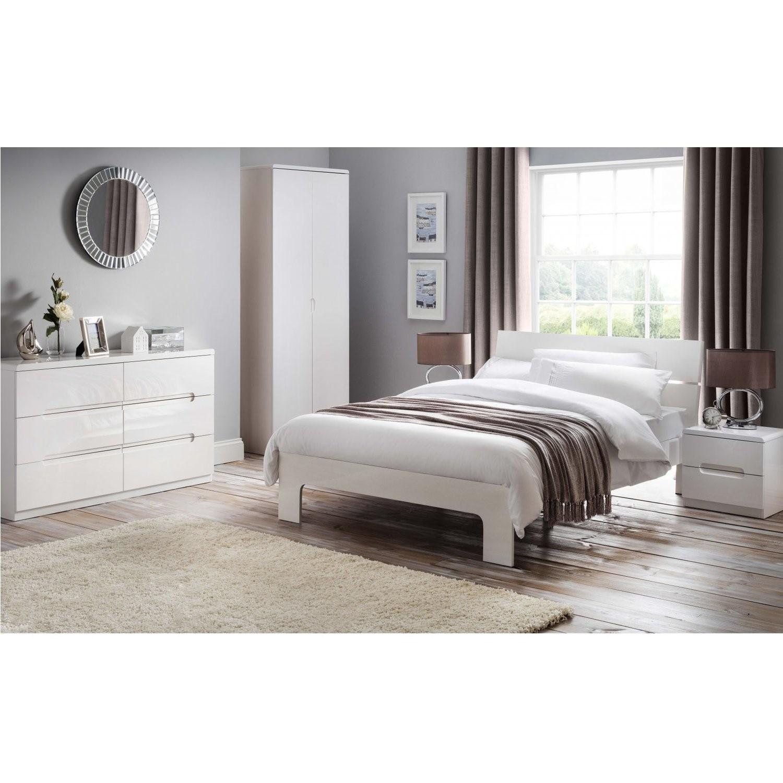 Julian Bowen Manhattan White High Gloss Kingsize Bed Frame Buyitdirect Ie