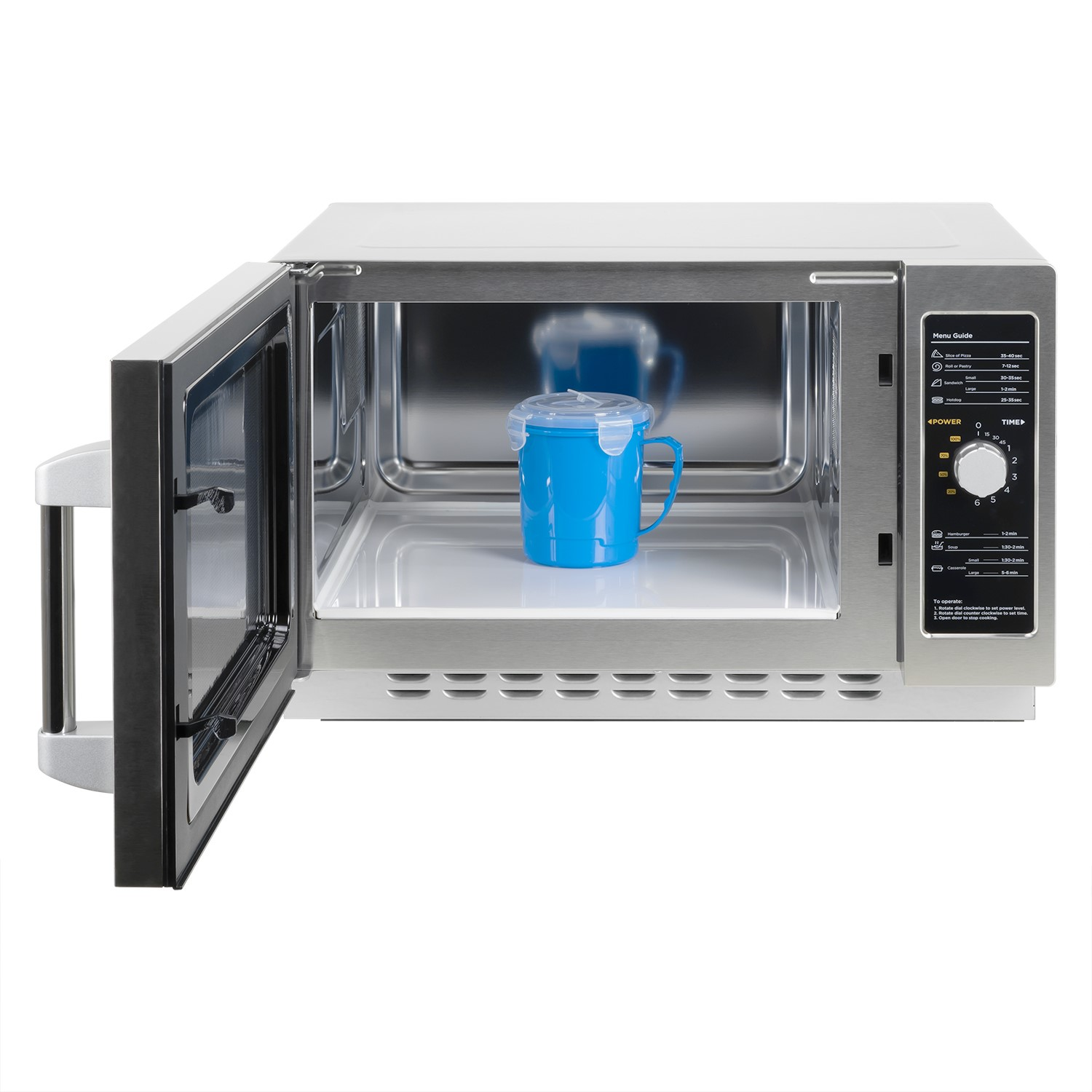 electriq 34 litre 1000w flatbed commercial heavy duty freestanding microwave in stainless steel