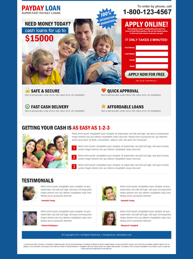 payday loan cash landing page design