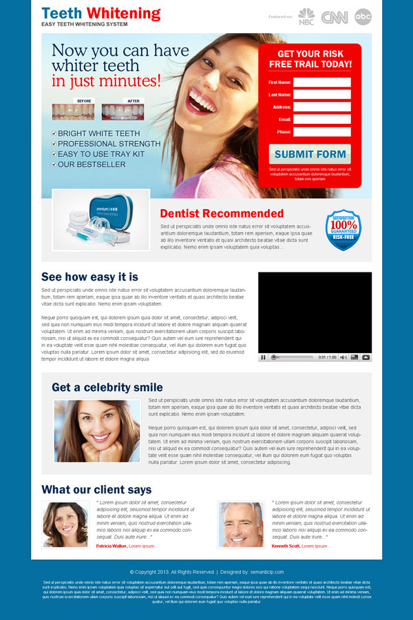 Clean and converting teeth whitening product landing page design example for inspiration from http://www.semanticlp.com/category/teeth-whitening/
