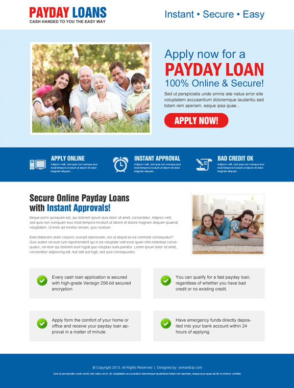 responsive payday loan landing page design