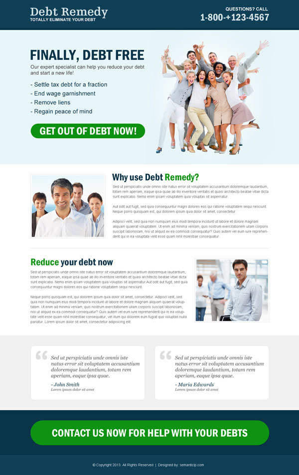 responsive debt relief landing page design to boost your conversion
