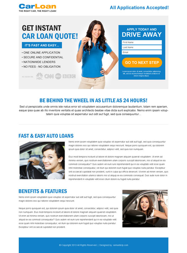 Car loan landing page design templates example to capture leads for car loan business from http://www.semanticlp.com/buy-now1.php?p=895