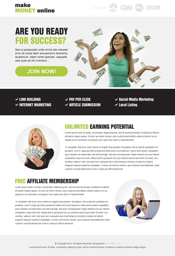 Effective and converting earn money online landing page design example from http://www.semanticlp.com/buy-now1.php?p=869