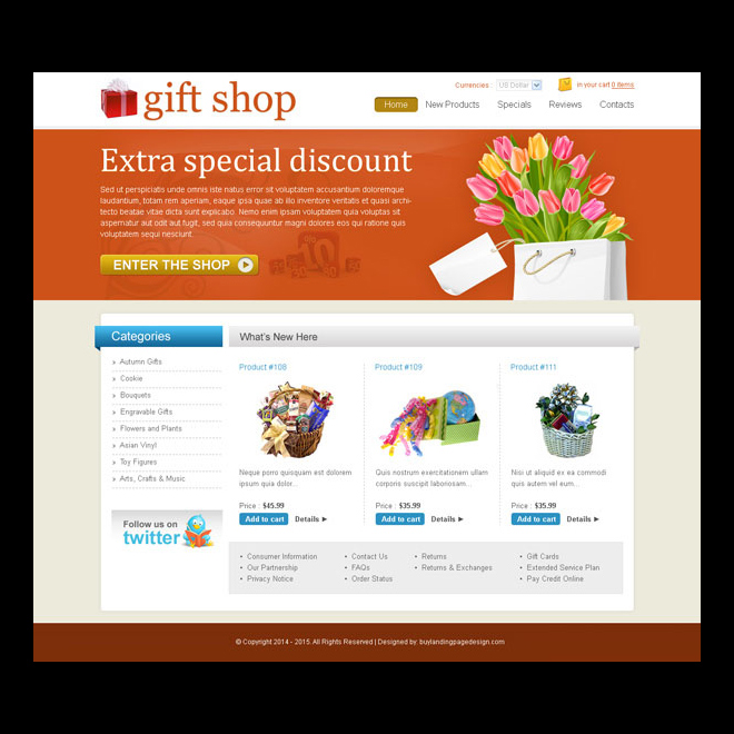 Flower and gifts website templates design psd for your ...