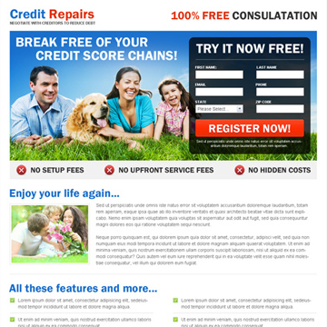 credit repair landing page design