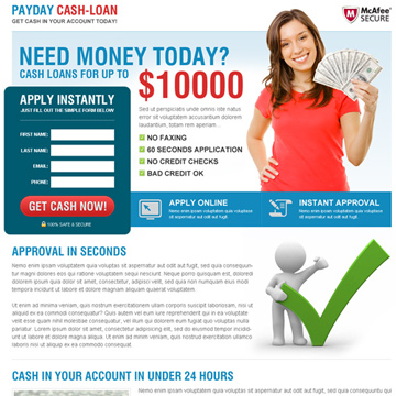 payday cash loan landing page design