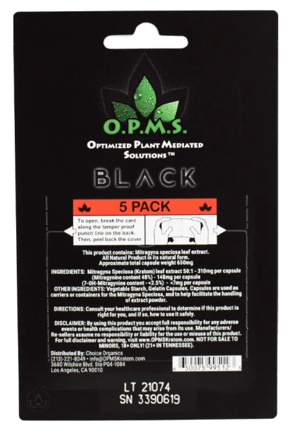 Back of OPMS Black 5 count