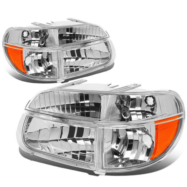 Rexhall Vision Diamond Clear Chrome Headlights & Signal Lamps 4 Piece Set (Left & Right)