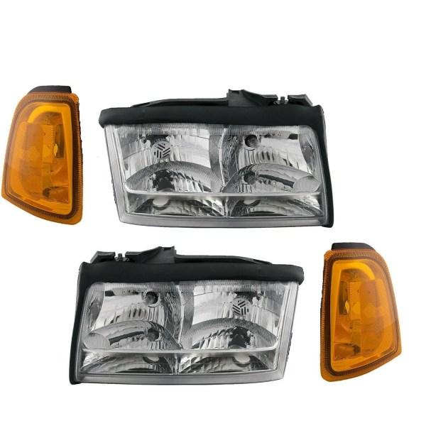 Fleetwood Bounder (GAS) Replacement Headlights & Corner Turn Signal Lamps 4 Piece Set