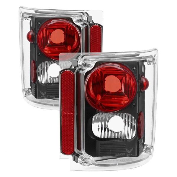 National RV Sea View Performance Black Tail Light Lens & Housing Pair (Left & Right)