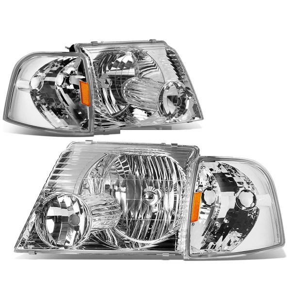 Country Coach Affinity Diamond Clear Chrome Headlights & Corner Turn Signal Lamps Unit 4 Piece Set