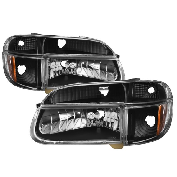 Alfa Gold Diamond Clear Black Headlights & Signal Lamps 4 Piece Set (Left & Right)