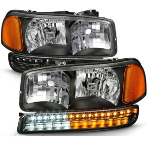 Tiffin Allegro (32ft & 35ft) Clear Lens Black Headlights  & LED Turn Signal Lights 4 Piece Set (Left & Right)