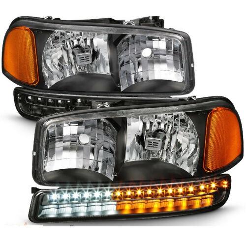 Tiffin Allegro (32ft & 35ft) Clear Lens Black Headlights  & LED Turn Signal Lights 4 Piece Set (Left & Right)