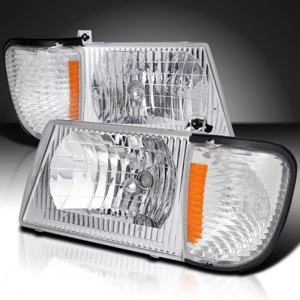 Forest River Hurricane Diamond Clear Chrome Headlights & Corner Turn Signal Lamps Set (4 Piece Set)