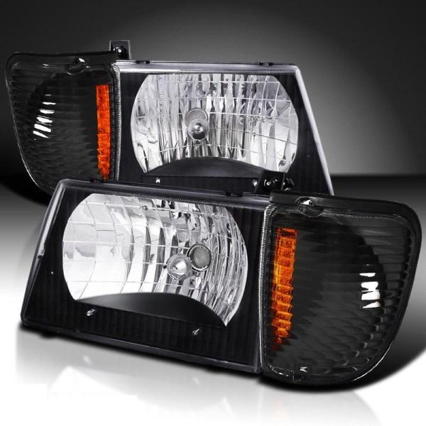 Damon Challenger Diamond Clear Black Headlights & Corner Turn Signal Lamps Set (4 Piece Set)
