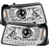 Itasca Sunrise Chrome LED Projector Headlights & Corner Turn Signal Light Assembly Set (Left & Right)