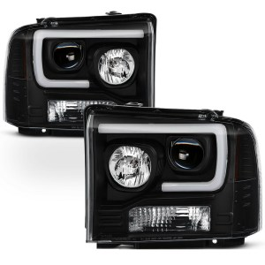 Monaco Dynasty Black Projector LED Headlight Assembly Pair (Left & Right)