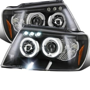Fleetwood Discovery Black Projector LED Headlight Assembly Pair (Left & Right)
