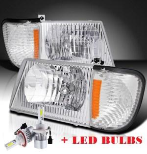 Holiday Rambler Ambassador Diamond Clear Chrome Headlights & Corner Turn Signal Lamps Set 4PC + Low Beam LED Bulbs