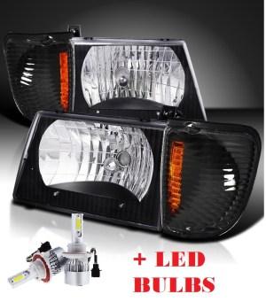 Fleetwood Pace Arrow Black Headlights & Corner Turn Signal Lamps Set 4PC + Low Beam LED Bulbs