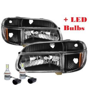 Coachmen Santara Diamond Clear Black Headlights & Signal Lamps + Headlight LED Bulbs (Left & Right)