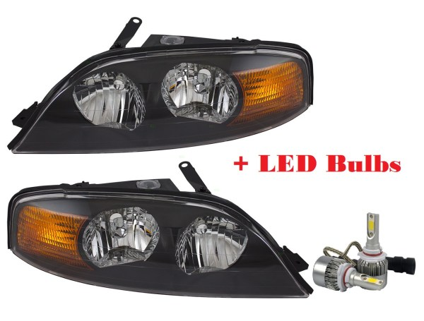 R-Vision Stratus Replacement Headlight Assembly Pair + Low Beam LED Bulbs(Left & Right)