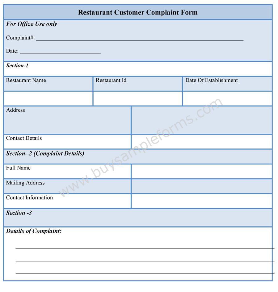 Complaint Form Template tea sample tea sample customer employee – Complaint Forms Template