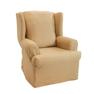 T CUSHION WING CHAIR KINGSTON STRIPE BUTTERSCOTCH Slipcover