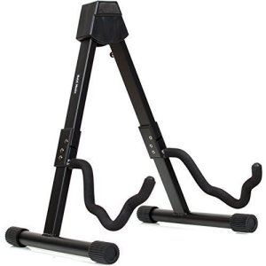 Hola! Heavy Duty Folding Universal Guitar Stand - Fits Acoustic, Classical, Electric and Bass Guitars - Black