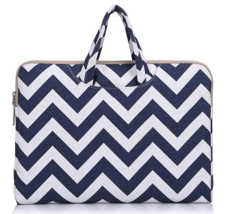 "Laptop Briefcase, Mosiso Chevron Blue Canvas Fabric 11-11.6"" Carry Case Handbag for Acer Chromebook 11, C720, C720P, C740 / HP Stream 11 / Samsung Chromebook 2 / Notebook Computer / MacBook Air 11"