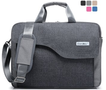CoolBell(TM)15.6 Inch Nylon Laptop Bag Shoulder Bag With Strap Multicompartment Messenger Hand Bag Tablet Briefcase For iPad Pro/laptop/Macbook/Ultrabook/Men/Women/College,Grey