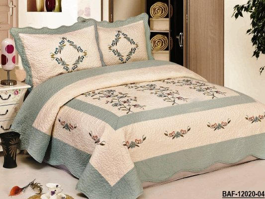 3pcs High Quality Fully Quilted Embroidery Quilts