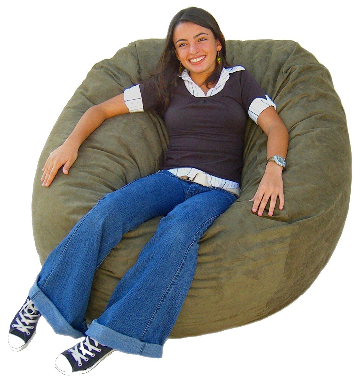 Charmant Cozy Sack 4 Feet Bean Bag Chair, Large, Olive