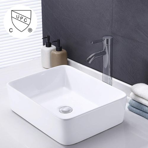 KES Bathroom Rectangular Porcelain Vessel Sink Above Counter White