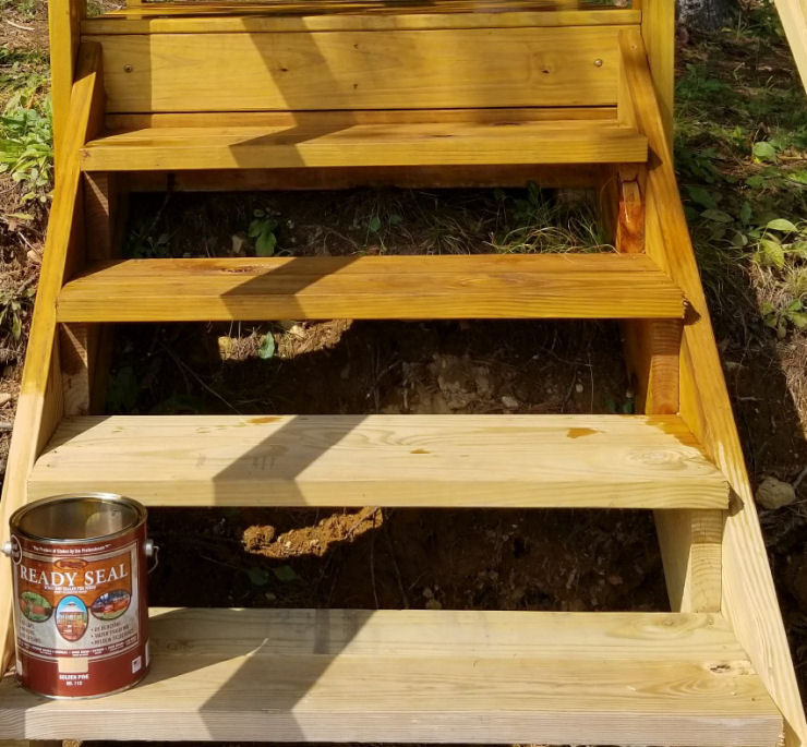 Ready Seal Deck Stain on Pressure Treated pine stairs