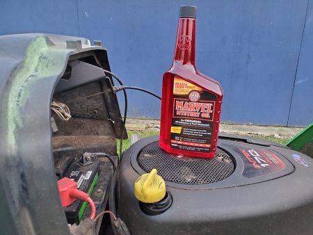 Marvel Mystery Oil in Lawnmower Engine